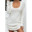Casual Girls Sweater Dress Drawstring Sides Plain Scoop Neck Long Sleeve Loose Fitted Short Dress