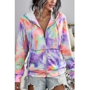 Womens Hip Hop Hooded Coat Tie-Dye Printed Pocket Long Sleeve Zipper Jacket