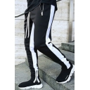 Mens Pants Casual Color Block Side Panel Zipper Vents Drawstring Waist Ankle Length Slim Fit Tapered Jogger Pants