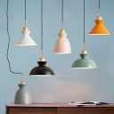Cone/Bell/Bowl Small Pendant Lighting Macaron Iron 1 Bulb Kitchen Dinette Hanging Ceiling Light in Pink/Orange/White
