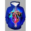 Mens Hoodie Chic 3D Abstract Pattern Drawstring Long Sleeve Regular Fit Hooded Sweatshirt