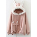 Womens Hoodie Fashionable Flap Pocket Rabbit Ear Fur-Trimmed Hooded Drawstring Long Sleeve Relaxed Fitted Hoodie