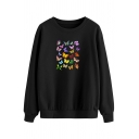 Colorful Womens Sweatshirt Butterfly Pattern Loose Fit Long Sleeve Crew Neck Pullover Sweatshirt