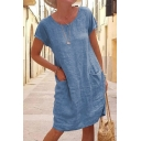 Casual Women's Dress Solid Color Front Pockets Scoop Neck Short Sleeves Midi T-Shirt Dress