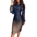 Party Style Women's Dress Glitter Ombre Pattern Tassel Design Crew Neck Long Sleeves Knee Length Bodycon Dress