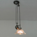 Single Conical Pulley Pendant Lighting Industrial Black Clear Ribbed Glass Ceiling Suspension Lamp