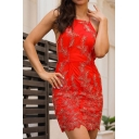 Hot Fashion Chic Floral Embroidered Halter Neck Sleeveless Mini Bodycon Dress
