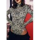 Creative Womens Bodysuit Leopard Skin Print Long Sleeve High Neck Slim Fitted Glove Bodysuit