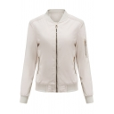 Womens Jacket Trendy Plain Ribbed Trim Zipper down Slim Fit Long Sleeve Stand Collar Casual Jacket