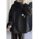 Womens Hooded Sweatshirt Stylish Letter The Frog Kisses the Princess Embroidered Frog Cosplay Loose Fit Long Sleeve Hoodie