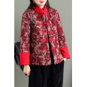 Unique Womens Jacket Flower Pattern Quilted Frog Button down Loose Fit Long Sleeve Stand Collar Padded Jacket