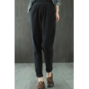 Retro Womens Pants Solid Color Brushed Cotton Twill Elastic Waist Regular Fit Full Length Tapered Relaxed Pants