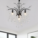 Black Branching Chandelier Modern Crystal Bead 4 Bulbs Dining Room Ceiling Pendant Lamp
