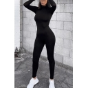 Novelty Womens Jumpsuit Solid Color Mention Hip Long Sleeve High Neck Slim Fitted Jumpsuit