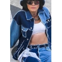 Basic Womens Jacket Color Block Panel Raw Edge Detail Button up Turn-down Collar Long Sleeve Slim Fitted Denim Jacket