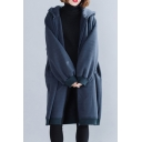 Leisure Hooded Coat Solid Color Drawstring Side Pockets Zip Fly Long Sleeves Plus Size Hooded Coat in Navy Blue for Women