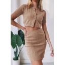 Novelty Womens Co-ords Plain Cable Knit Slim Fitted Split Hem Mini Bodycon Skirt Button Front Crew Neck Short Sleeve Cardigan Co-ord