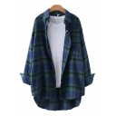 Womens Shirt Chic Plaid Pattern Chest Pocket High-Low Hem Button down Tunic Long Sleeve Point Collar Loose Fit Shirt