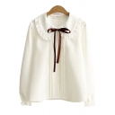 Womens Shirt Fashionable Plain Stringy Selvedge Tie Detail Pleated Placket Button up Peter Pan Collar Long Sleeve Loose Fit Shirt