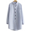 Womens Shirt Stylish Pinstripe Pattern Cat Embroidered Spread Collar Button Detail Loose Fit Long Sleeve Tunic Shirt