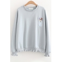 Womens Sweatshirt Chic Flower Vase Embroidery Wavy Edge Detail Round Neck Long Sleeve Loose Fit Pullover Sweatshirt