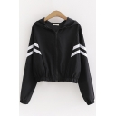 Unique Womens Jacket Contrast Arm-Stripe Elastic Hem and Cuffs Zipper down Regular Fit Long Batwing Sleeve Hooded Casual Jacket