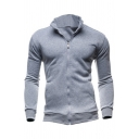 Vintage Mens Jacket Solid Color Rib Trim Zipper up Long Sleeve Stand Collar Slim Fitted Casual Jacket