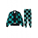 Womens Co-ords Creative 3D Checkered Print Anime Demon Slayer Relaxed Fitted Long Sleeve Sweatshirt Long Pants Jogger Co-ords