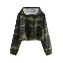 Classic Womens Hoodie Camouflage Drawstring Regular Fitted Long Sleeve Cropped Hoodie