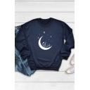 Womens Pullover Sweatshirt Trendy Wildflower Crescent Moon Star Print Loose Fit Long Sleeve Crew Neck Pullover Sweatshirt
