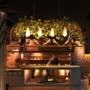 4 Lights Bird Cage Island Pendant Farmhouse Black/Bronze Iron Hanging Lamp Kit with Vine and Bird Decor