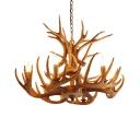 Resin Candle Chandelier Light Fixture Rural 4/6/9-Light Dining Room Antler Pendant Lamp in Brown