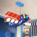 Biplane Kids Playroom Drop Lamp Metal 6 Lights Cartoon Chandelier Pendant in Blue and Red