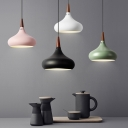 Macaron 1 Bulb Pendant Lighting Black/Gold/Pink Onion Suspension Lamp with Aluminum Shade and Vent Design