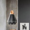 Riveted Diamond Shaped Pendant Lamp Macaron Metal 1 Head Black/Grey/Yellow Down Lighting with Wood Accent