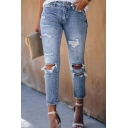 Basic Street Women Mid Rise Bleach Destroyed Cropped Leg Fitted Straight Jeans in Light Blue