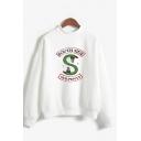 Trendy Letter SOUTH SIDE Snake Logo Print Mock Neck Long Sleeve Relaxed Pullover Sweatshirt