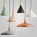 Pink/Gold/Grey Conic Pendant Lighting Macaron 1 Head Aluminum Suspension Lighting with Wood Top