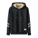 Mens Hooded Sweatshirt Chic Label Patch Reflective Tape Sherpa Lined Drawstring Regular Fitted Long Sleeve Hoodie