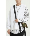 Mens Sweatshirt Trendy Striped Asymmetric Patchwork Buckle Decorated Loose Fit Round Neck Long Sleeve Pullover Sweatshirt