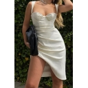Womens Dress Trendy Solid Color Ruched Slim Fitted Midi Bodycon Sleeveless Sweetheart Neck Strap Asymmetric Dress