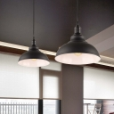 Bowl Shade Dining Room Pendant Lamp Industrial Metallic 1-Light Black Ceiling Hang Light with Plug-in Cord