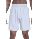 Vintage Mens Shorts Solid Color Breathable Quick-Dry Elastic Waist Regular Fitted Sport Shorts