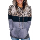 Chic Hoodie Drawstring Color Block Leopard Printed Front Pockets Long Sleeves Hooded Sweatshirt for Women
