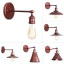 Rust 1 Bulb Wall Mount Lamp Warehouse Iron Mesh/Horn/Scalloped Shade Rotatable Wall Light Fixture