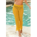 Sexy Womens Trousers Plain Crochet Hollowed Tassel Trim Pocket Low Rise Full Straight Pants