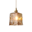 Cloud Glass Coffee Pendant Lighting Trapezoid/Round 1 Bulb Vintage Hanging Ceiling Light over Dining Table