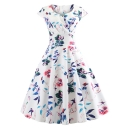Classic Womens Dress Flower Leaf Heart Abstract Print Pleated Surplice Neck Short Sleeve A-Line Slim Fitted Midi Swing Dress