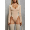 Womens Bodysuit Fashionable Plain Scoop Neck Slim Fitted Long Ruched-Drawstring Sleeve Bodysuit