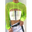 Womens Tee Top Fashionable Hollow out Fishnet Mesh Cut off Drawstring Slim Fitted Hooded Long Sleeve Cropped T-Shirt
